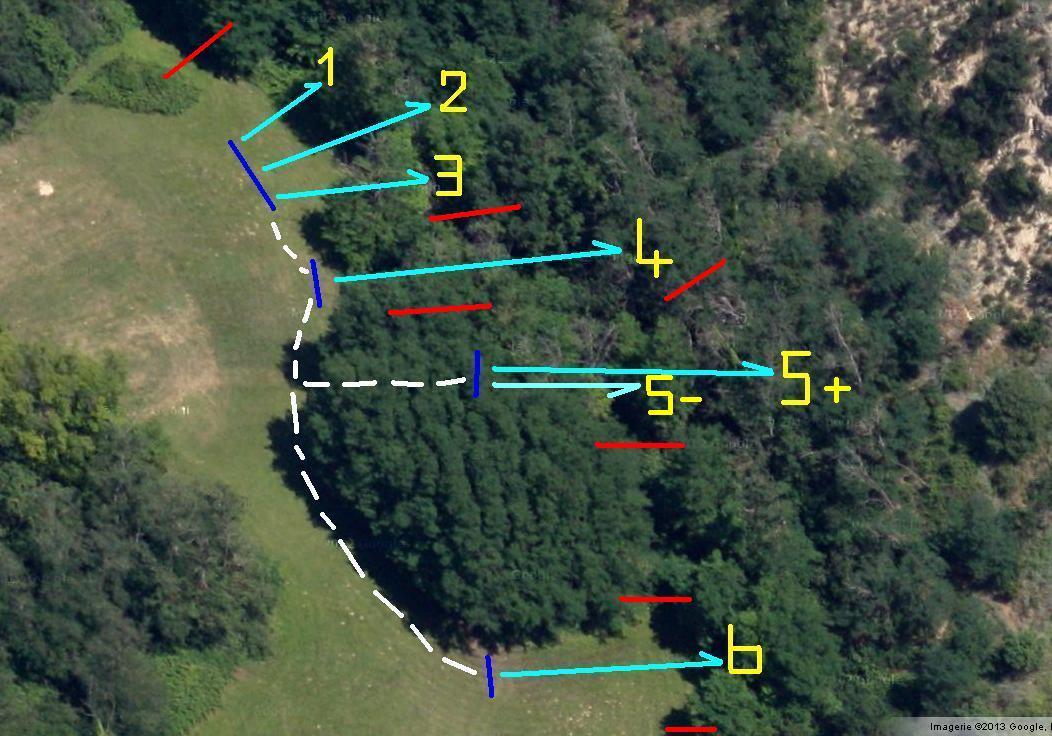 Axes de tir du parcours TAC du terrain des Etroits